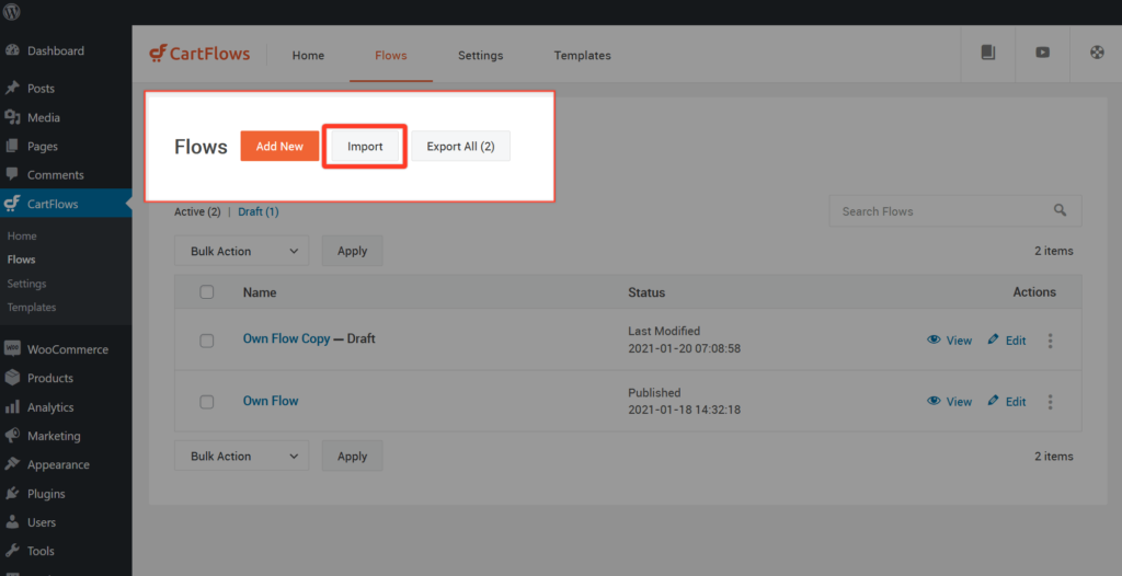 How To Import Export Flows & Individual Page Builder Templates - 2
